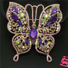 Betsey Johnson Charm Brooch Pin Gifts New Purple Bling Cute Butterfly Crystal