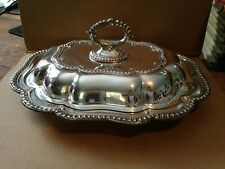 Vintage Ornate English Silver Plate Covered Serving Dish