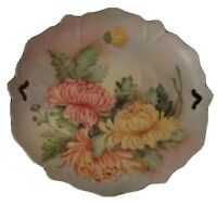 Handpainted Porcelain Serving Tray Pierced Scalloped Edges Floral Emelia Munger