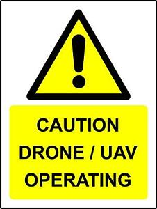 Warning Caution Drone/UAV operating metal park safety sign