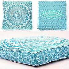 Mandala Flower Design Square Floor Cushion Cover 35 Inches Cotton Fabric Indian