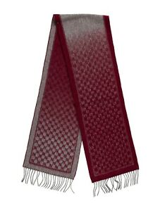 Authentic GUCCI Men's Or Women's  Scarf GG Burgundy/Gray 100% Wool NEW with Tags