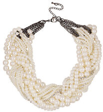 ZARA ELEGANT MULTI ROWS INTERWINED WHITE PEARLS NECKLACE - NEW