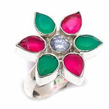Ruby, Emerald, White Topaz Gemstone 925 Sterling Silver Ring Size 7