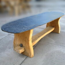 SLATE GARDEN BENCH / COFFEE TABLE (wooden seat, patio furniture)