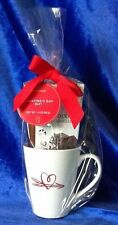 Starbucks Coffee Cup Mug Valentine Hot Cocoa Gift Set White Red Heart 13 Ounce