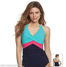 Profile Gottex Let's Twist Sea Breeze 2Pc Halter Tankini Sz14 Swimsuit $136 NWT
