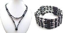Black Silver Beaded Magnetic Hematite Fancy Gift Wrap Bracelet Choker Necklace