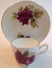 Demitasse Cup Saucer England Crown Victorian Staffordshire Burgundy