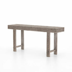 """65"""" L Console Table Intricately Hand Carved Reclaimed Solid Wood Modern Tribal"""