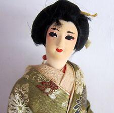 "VINTAGE ORIENTAL JAPANESE GISHA DOLL 15"" TALL Made n Japan NISHA See 10 PHOTOS)"