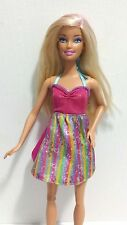 Mattel Barbie Doll Blonde in Pink, Aqua,Yellow and Purple Sun Dress w/ Shoes EUC