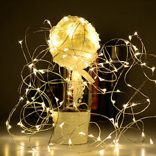 Warm White 1M 10 LED Battery Power Operated Copper Wire Fairy Light String