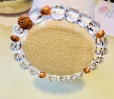 Natural Clear Quartz And Rudraksha Bracelet