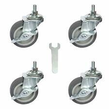 Caster Wheels 3inch Rubber Heavy Duty 12 13 X 1 Threaded Stem Mount Locking