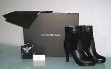 EMPORIO ARMANI Black Leather/Suede High heel ankle boot sz 7.5 US SELLER NIB