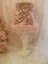 Shabby Pink TOILE LAMPSHADE Chic Rose Trim Girl Nursery baby table lamp shade