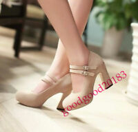 Lady Mary Jane Platform Block High Heel Double Buckle Strap Pumps Court Shoes Sz