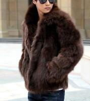 New Fashion Winter Men's Faxu Mink Fur Leisure Overcoat Jackets Coats Outwear