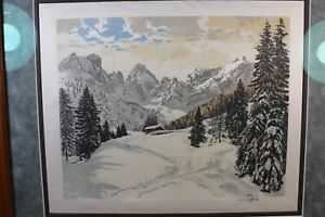 One Hans Figura signed silk etching Alps framed #2
