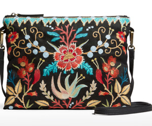 🌺 JOHNNY WAS ARIEL FLORAL EMBROIDERED BLACK CROSSBODY PURSE BAG NEW LAST ONE 🌺