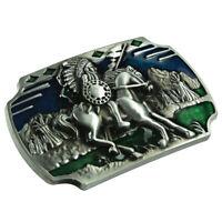 Western Style Vintage Accessories Cowboy Belt Buckles Silver&Green
