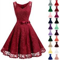 US Vintage Women A-Line V-neck Lace Dress Sleeveless with Belt Party Prom Dress