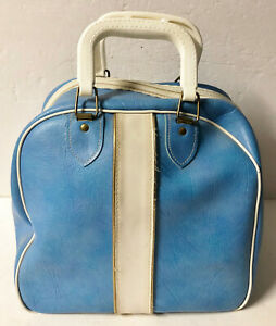 VINTAGE ONE BALL BOWLING BAG W/ RACK TURQUOISE WHITE GOLD PIPING