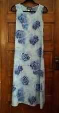 LaBelle Fashions sz 3 full length baby blue floral print dress EUC