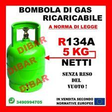 BOMBOLA DI GAS REFRIGERANTE R134A DA 5KG 7LT RICARICABILE SENZA RESO DEL VUOTO