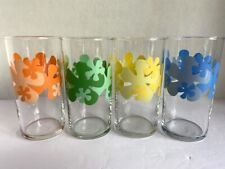 "Vintage Retro Juice Glasses 4 Set  DAISY Yellow/Orange/Blue/Green 8oz ""LAUGH-IN"""