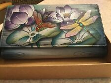 anuschka Hand Painted Leather wallet. Triple Fold NEW