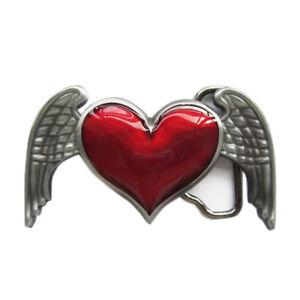 Red Heart Angel Wings Enamel Finish Metal Belt Buckle