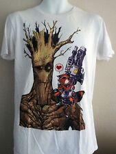 Marvel Guardians of The Galaxy T-shirt White Graphic tee Rocket Groot Size Large