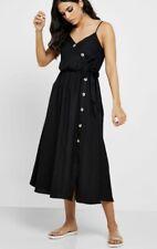 Black Dorothy Perkins Linen Blend Strappy Midi Casual Summer Sun Dress £28