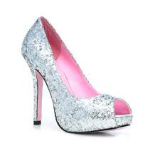 """Ella Glitter Womens 5"""" Silver Peep Toe Pumps sz 6"""