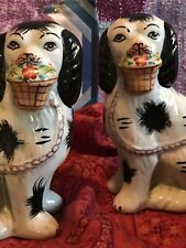 Pr Of Pr. Reproduction Staffordshire Dogs w/ Floral Baskets