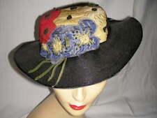 Vintage 1920 S 30 S Black/Blue a Appliqued Blue Yellow Red Flower Trim 55 cm