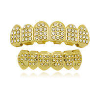 Bling Bling Gold Teeth Grillz Iced Out Grillz Hip Hop Teeth 6 Top and Bottom set