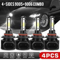 4pcs Combo 9005 9006 Xenon White COB LED Headlight Kit Bulbs 6000K High Low Beam