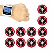 Wireless Pager Restaurant Waiter Calling System 10pcs Call Transmitter Button+1p
