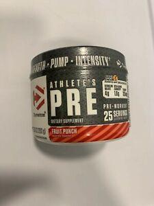 Dymatize Athlete's Pre Workout Dietary Supplement Fruit Punch 7.5oz Expires 8/21