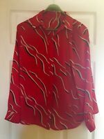 Linea red sheer blouse with black & white abstract print/Size 14