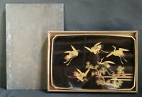 Antique Japan lacquered Obon wood tray 1800sWajima craft.