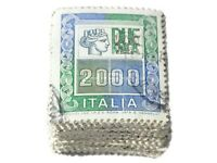 Lotto 100 Francobolli Alti Valori da 2000 Lire Mazzetta da 100 Senza Frammento