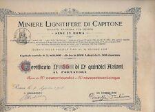1918 *  ROMA * MINIERE LIGNITIFERE DI CAPITONE  * CERTIFICATO DOC ORIGINALE