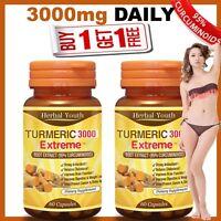 2 x TURMERIC PILLS 95% CURCUMINOID LONGA LINN FRESH TUMERIC 3000 ANTIOXIDANT #1