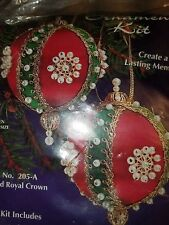 Vtg Sulyn RED ROYAL CROWN Satin Ball Christmas Ornament KIT Sequins Beads Pretty