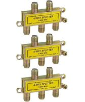3x 4-Way Signal Splitter 5-900MHz F-Type Mini-Type Coax/Coaxial Cable TV/Antenna