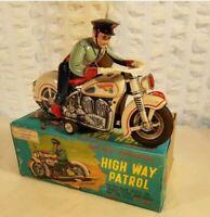 Tin Toy 1950's Matsudaya-Japan HIGH WAY PATROL MOYORCYCLE mint conditions works.